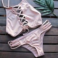 venice high neck crop bikini separates - blush