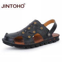 Mens Genuine Leather Sandals Fashion Male Sandals Leather Men Shoes Water Sandals For Men Summer Beach Shoes