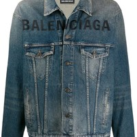 Dark Denim Logo-Printed Jacket by Balenciaga
