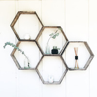 5 Hexagon Shelves// Pallet Shelf// Reclaimed Wood// Pallet Art// Pallet Wood Shelf// Geometric Shelf// Rustic Home Decor