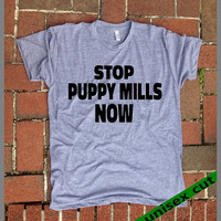 STOP Puppy Mills NOW. UNISEX Tri Blend Track Tshirt. Animal Activist. Rescuer Tanks.hand printed clothing. Dog Lover. Dog rescue. Adopt