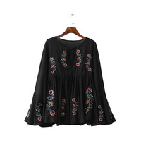 Women vinatge floral embroidery bell sleeve shirts neck key hole black pleated draped loose blouse retro neck tie tops LT1387