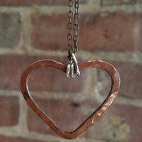 Copper Heart Necklace Handmade Jewelry Valentines Day Gift Idea