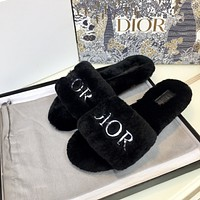 Dior autumn and winter new embroidered logo wool slippers shoes