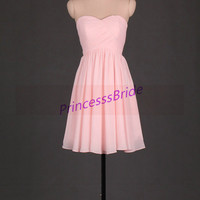 2014 short pearl pink chiffon bridesmaid dresses,simple dress for party,cheap sweetheart prom gowns,affordable bridesmaid gowns.