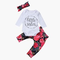 Printed Romper +Flower Pants +Bow Headband Outfits For Girls