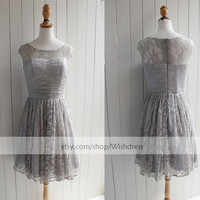 Illusion Top Silver Lace Short Bridesmaid Dress/ Cocktail Dress/Short Prom Dress/ Formal Dress/ Homecoming Dress from wishdress