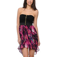 Lunachix Magenta Print High Low Strapless Dress