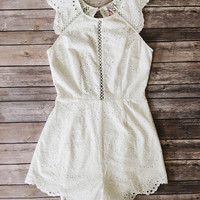 Belle Scalloped Romper (White)
