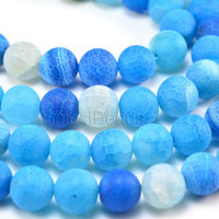blue dragon vein agate beads - blue agate gemstone - craft beads wholesale - dragon vein agate beads - round beads - 6-14mm -15inch