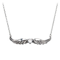 Angels Among Us - Winged Cubic Zirconia Stainless Steel Graceful Necklace