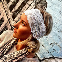 Stretchy Lace headband Wedding Head Bands Wide Hair Wrap