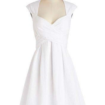 ModCloth Mid-length Cap Sleeves A-line Give Me Amour Dress in Cloud