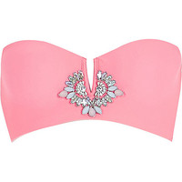 River Island Womens Pink Pacha gem embellished bikini top