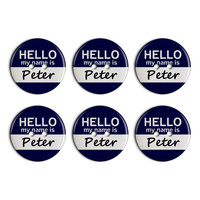 Peter Hello My Name Is Plastic Resin Button Set of 6