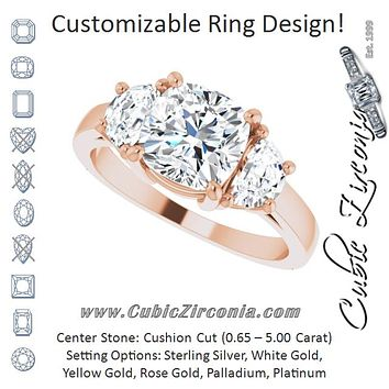 Cubic Zirconia Engagement Ring- The Bree (Customizable 3-stone Design with Cushion Cut Center and Half-moon Side Stones)