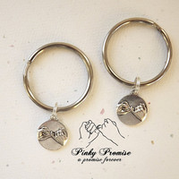 2 Pinky Promise Best Friends Key Chains  - His Hers Couples Key Chains -  Pinky Promise Keychain  -  Boyfriend Girlfriend  - Pinkie