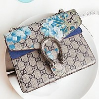 Vsgirlss GUCCI Fashion New Floral More Letter Leather Chian Shopping Leisure Shoulder Bag Crossbody Bag