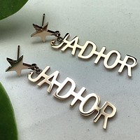 JADIOR Trending Women Stylish Star Letter Pendant Long Earrings Accessories Jewelry Rose Golden