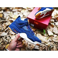 Levis x Air Jordan 4 Blue Sport Shoe