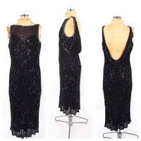Vintage 1920s Style Beaded Dress Black 30's Art Deco Style Gown 20s Sequin Flapper Gown Great Gatsby Formal Bias Cut Backless Cocktail Dress