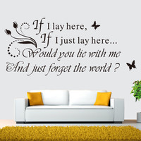 """""""If I Lay"""" English Quote Wall Stickers For Living Room Bed Room Waterproof Removable Wall Decor SM6"""