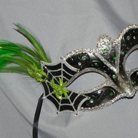 Black Mask with Lime Green and Silver Spider Accents