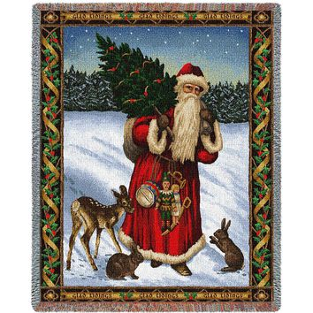FATHER CHRISTMAS AFGHAN THROW BLANKET