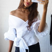 Big V-neck Lantern Sleeve Bow-knot Blouse