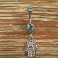 Belly Button Ring - Body Jewelry - Rhinestone Silver Hamsa Hand with Double Lt. Blue Gem Stones Belly Button Ring