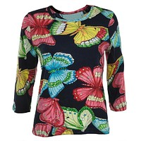 Butterflies Sequined 3/4 Sleeve Women's T-Shirt
