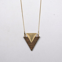 Wood & Brass Triangle necklace