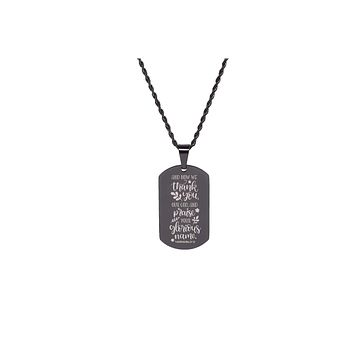 Silver Pink Box Bezeled Disc Scripture Necklace Ephesians 6:10