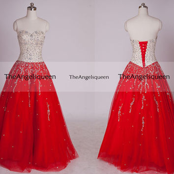 Gorgeous Champagne and Red Backless Long Prom Evening Gowns with Jewel Bodice,senior dress,evening dresses,long prom dresses,wedding dress