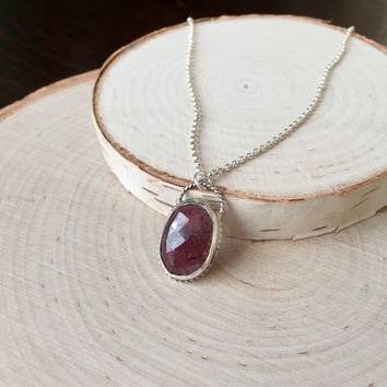 Dark, Burgandy-Red Sapphire Pendant, Rose-Cut Cabochon in .925 Sterling Silver, Antique Patina, Open Back Bezel, Natural Sapphire Necklace