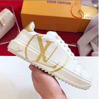 Louis Vuitton LV Fashionable Women Casual Leather Sport Shoes Sneakers Golden I-OMDP-GD