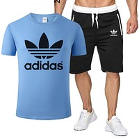 ADIDAS Tee Classic Two Piece Sports Suit Top Shorts T Shirt Blue