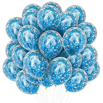 PartyWoo Blue Balloons 50 pcs 12 Inch Blue Confetti Balloons