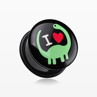 zzz-A Pair of 'I Heart Dinosaur' Single Flared Ear Gauge Plug