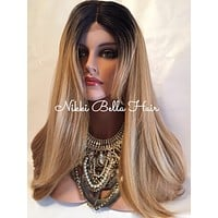 """Valley Girl 22"""" dark roots blond mix lace front wig"""