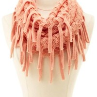 Chevron Knit Fringe Infinity Scarf by Charlotte Russe - Coral
