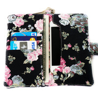 FLORAL IPHONE WALLET Black Vintage Flower Card Holder Pouch Sleeve Bag Purse Samsung Galaxy S3 Galaxy S4 Note 2 Note 3 iPhone 4 4s 5 5s 5c