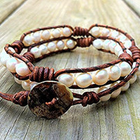 White Freshwater Pearl Leather Wrap Bracelet by DESIGNbyANCE