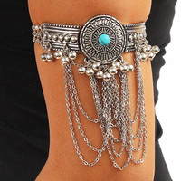 Gold or Silver Turquoise Concho Chained Arm Cuff