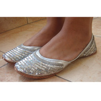 Handmade Indian Designer Women Silver Shoes or Slippers - Sequins Shoes - Maharaja Style Women Jooties