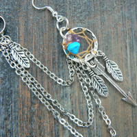 ONE silver arrow dreamcatcher chained ear cuff turquoise and amethyst cuff in boho gypsy hippie hipster native american tribal style