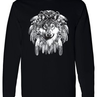 Men's Long Sleeve Shirt Indian Wolf