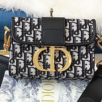 Onewel Dior Fashion New More Letter Print Canvas Shoulder Bag Crossbody Bag Black