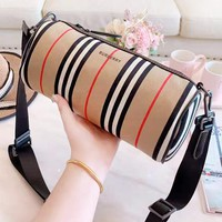 Burberry New fashion stripe leather couple shoulder bag
