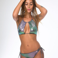 Crescent Moon Bikini Top in Petrol Iridescent by Motel